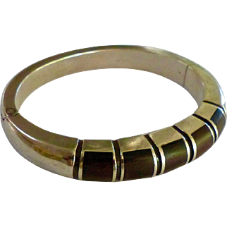 Minimalist Designer Joachim S' Paliu Sterling Silver .925 And Ebony Bangle Bracelet