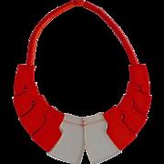"""Rare Vintage Galalith Necklace """"Collier Lhassa"""" Guillemette L'Hoir Paris-François Schoenlaub,"""