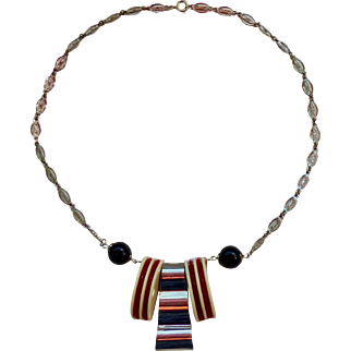 Art Deco / Machine Age Galalith and Chrome Necklace - Bengel