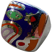 "Vintage Alessandro Menegatti Sterling Silver and Enamel Ring ""Picasso Collection"""