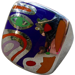 """Vintage Alessandro Menegatti Sterling Silver and Enamel Ring """"Picasso Collection"""""""