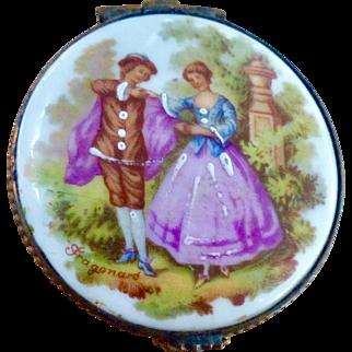Old Hand Painted Porcelain Limoges Trinket Casket Box With Hinged Lid