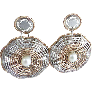Large Estate Floral Dangle Lace Drop Earrings With Central Pearl - 14K Rose And White Gold