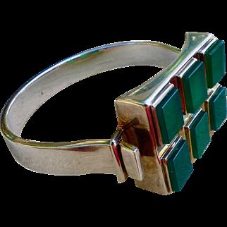 Modernist Sterling Silver And Chrysoprase Bracelet,  Joachim S'Paliu Circa 1970