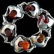 Vintage Sterling Silver Bracelet And Amber Bracelet  - Ulrich, Denmark