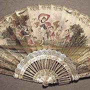 C.1840 French Fan, Painted Chicken Skin, Carved Mother of Pearl