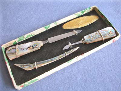 "1926 3-Pc. ""L.A."" Abalone Manicure Set, Mother of Pearl MOP"