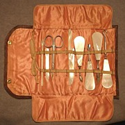 Early 1900's Manicure Travel Set, Mother of Pearl M.O.P. Handles