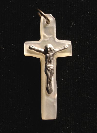Crucifix Pendant, Mother of Pearl Cross With Metal Jesus