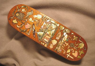 C.WWI Danish Clothes or Shoe Brush, Profuse Folk Art Abalone Inlays