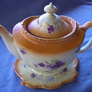 English Porcelain Set, Teapot and Trivet, Hand Painted Flowers