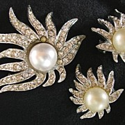 Rhinestone Brooch Pin & Earrings 3-pc. Set
