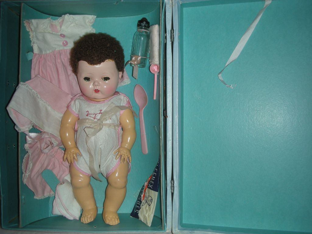 Vintage American Character Tiny Tears Doll with Case Layette