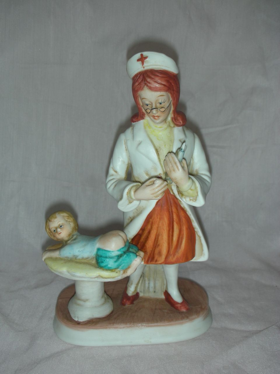 Vintage Nurse Bisque Figurine Figure RN giving Baby a Shot