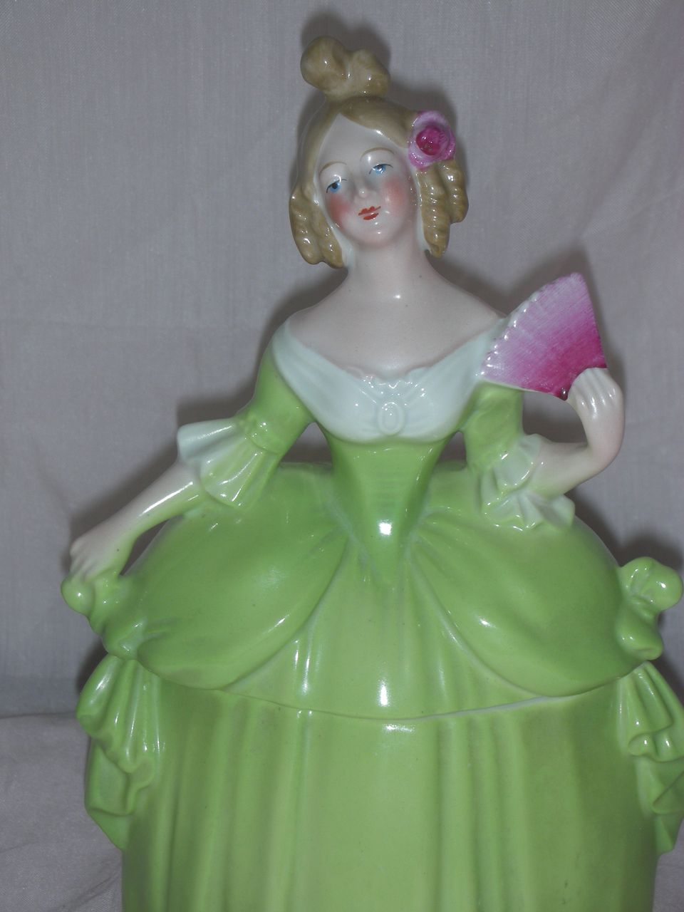 Vintage Madame Pompadour Dresser Doll Green Ballgown