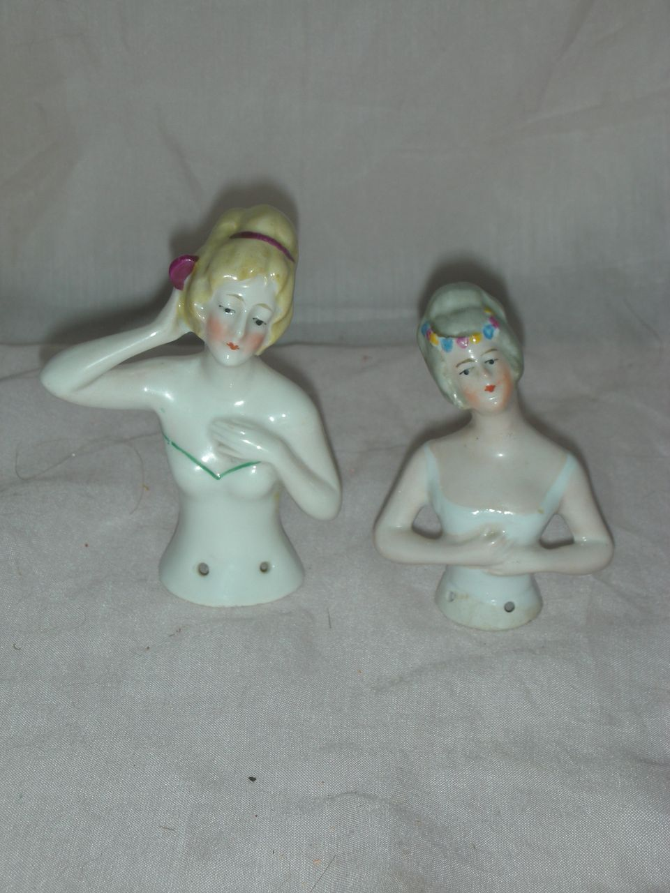 Two Vintage Half Pin Cushion Dolls