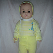 Vintage Egee Molded Hair Baby Doll with Brown Eyes 1960s Play pal Size Drink and Wet