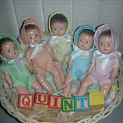 Vintage Set of Madame Alexander Dionne Quintuplet Dolls Quints