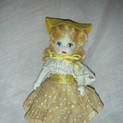 Vintage All Bisque Doll with Mohair 6 inch