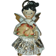 Vintage Rare Lefton November Birthday Angel Rhinestone Figurine