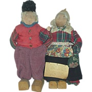 Antique Cloth Folk Art Dolls Man and Women Mohair Volendam