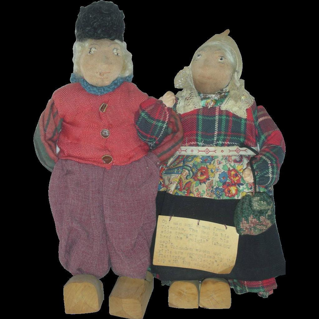 Antique Cloth Folk Art Dolls Man and Women Mohair Volendam