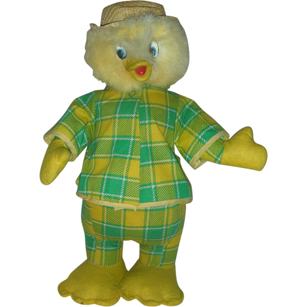 Vintage Mid Century Stuffed Easter Toy Chick or Duck Rubber Face Beck