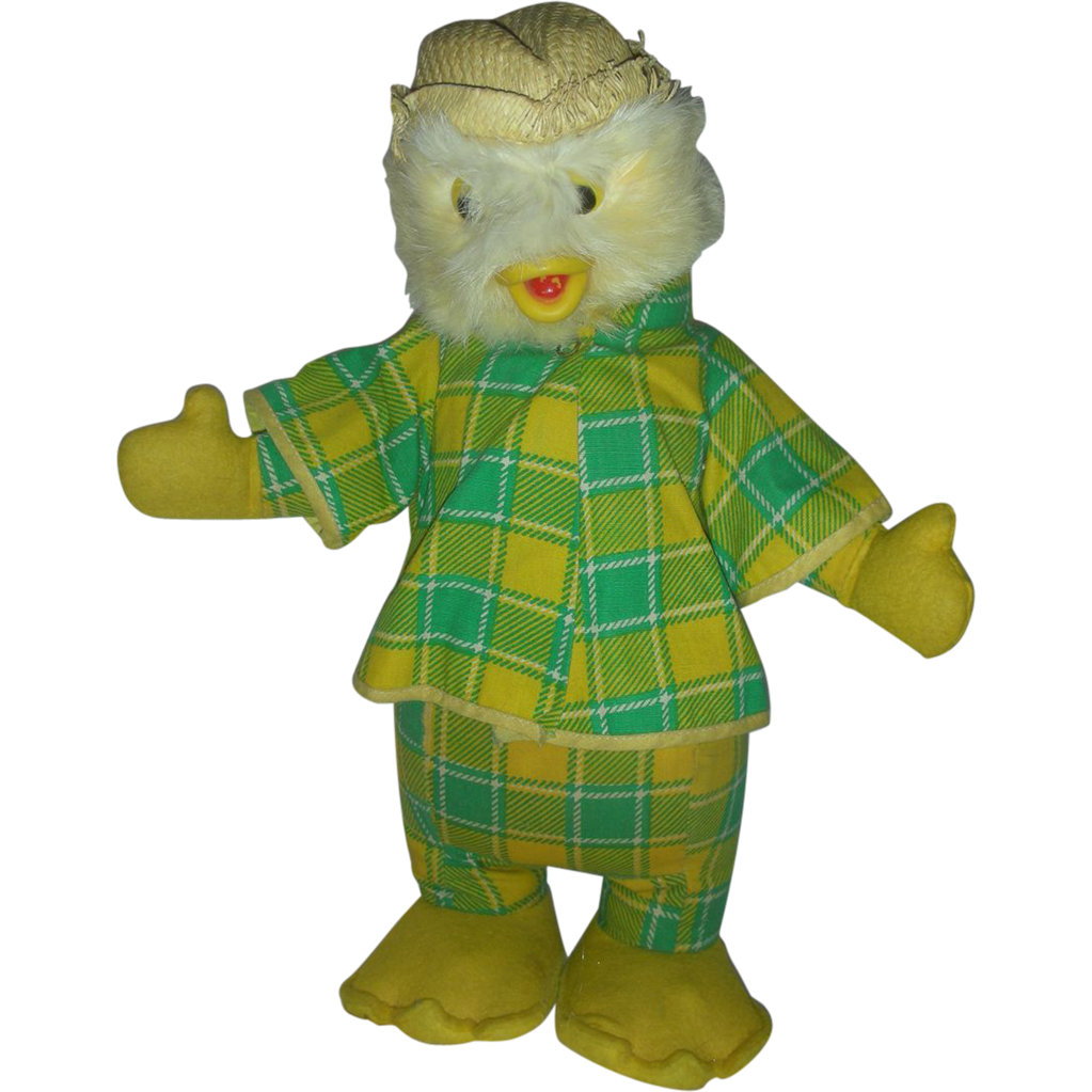 Mid Century Easter Duck or Chick Stuffed Toy Rubber Beck