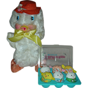 Vintage Rubber Face Stuffed Duck and Box of Bunnies and Chicks Easter Toys - Red Tag Sale Item
