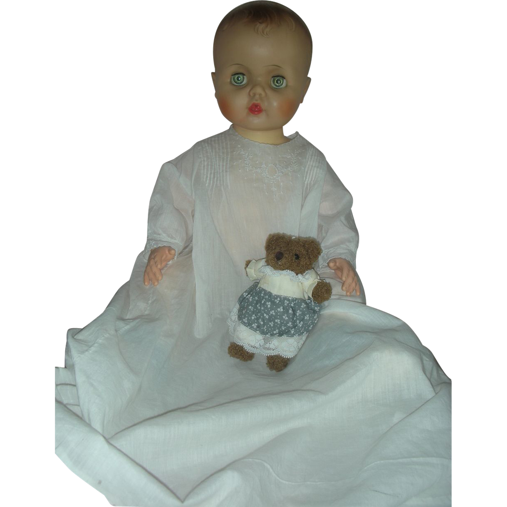 Vintage Molded Hair Playpal Drink and Wet Baby Doll 24 inches