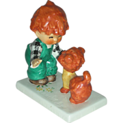 Vintage Red Head Figurine Atta Boy Goebel Charlot Byi with Dog