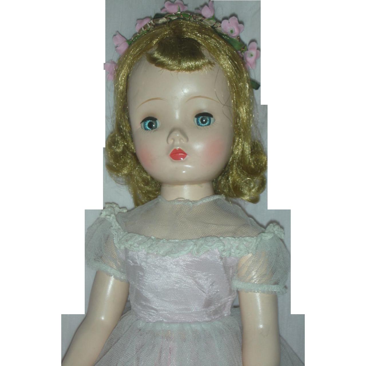 Vintage Madame Alexander Hard Plastic Doll 1954 Flower Girl Walker Doll