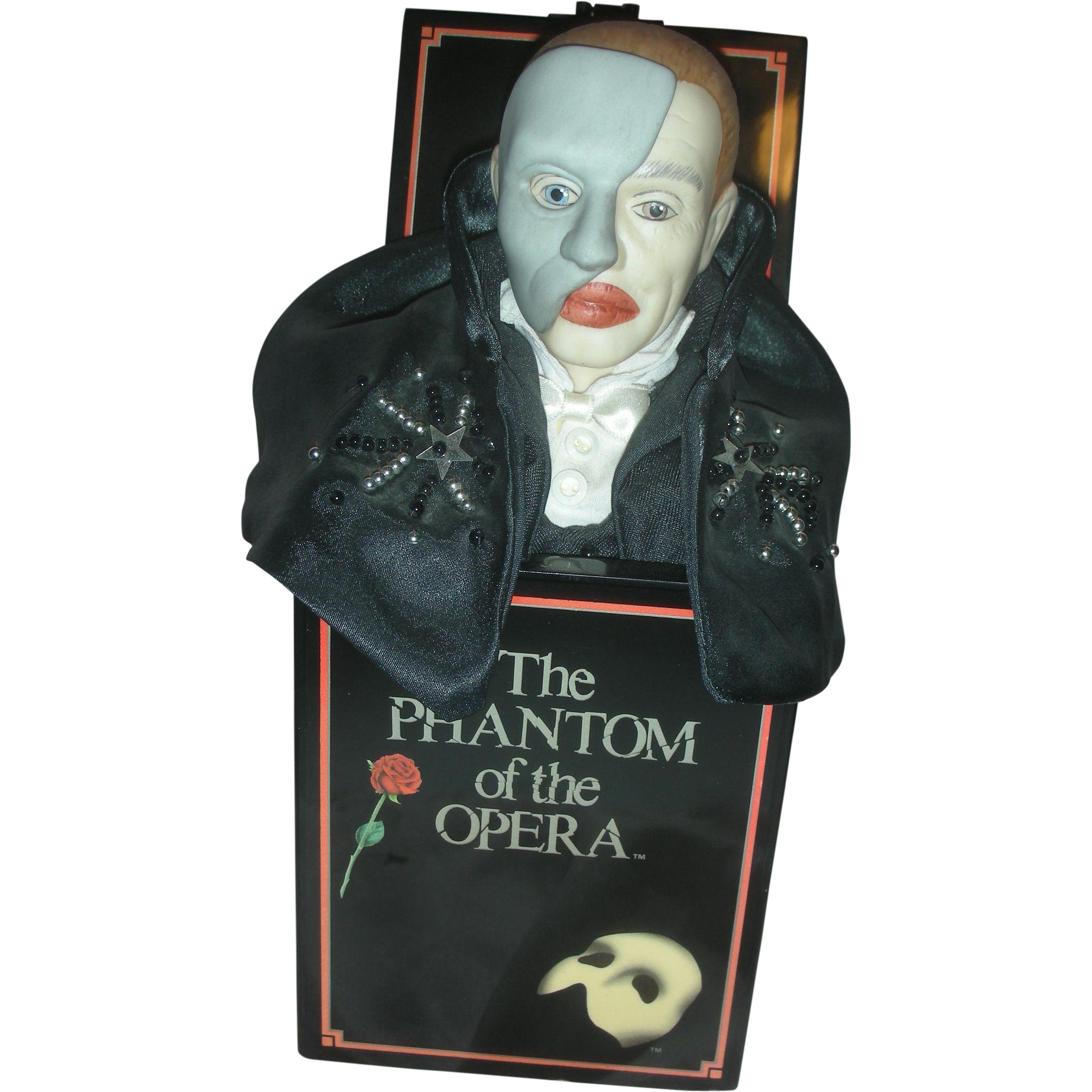 "Vintage Phantom of The Opera Music Box By Enesco Mini Jack in the Box Plays ""The Music of the Night"""