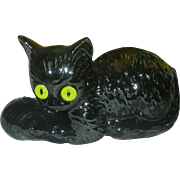 Mid Century Modern Black Cat Halloween Haegar Planter with Glass eyes Head Vase