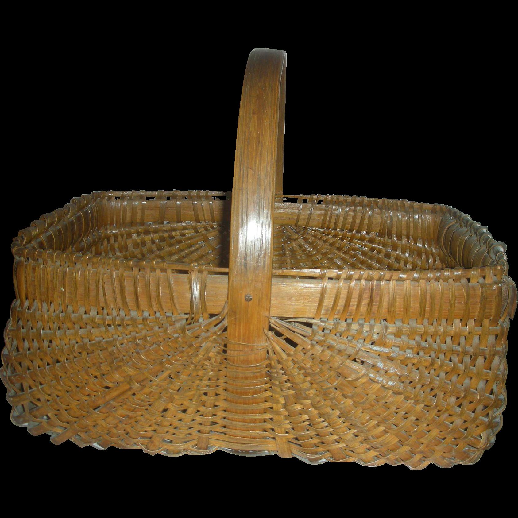 Primitive Appalachian KY Oak Split Gathering Basket