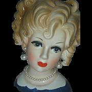 Vintage Inarco Lady Head Vase Planter Headvase 6 inch