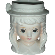 Vintage Lady Headvase Teen Head Vase Planter
