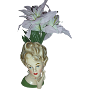 Vintage Large Lady Headvase Planter 8 inch