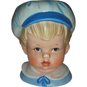 Vintage Boy Head Vase Planter Relpo Headvase
