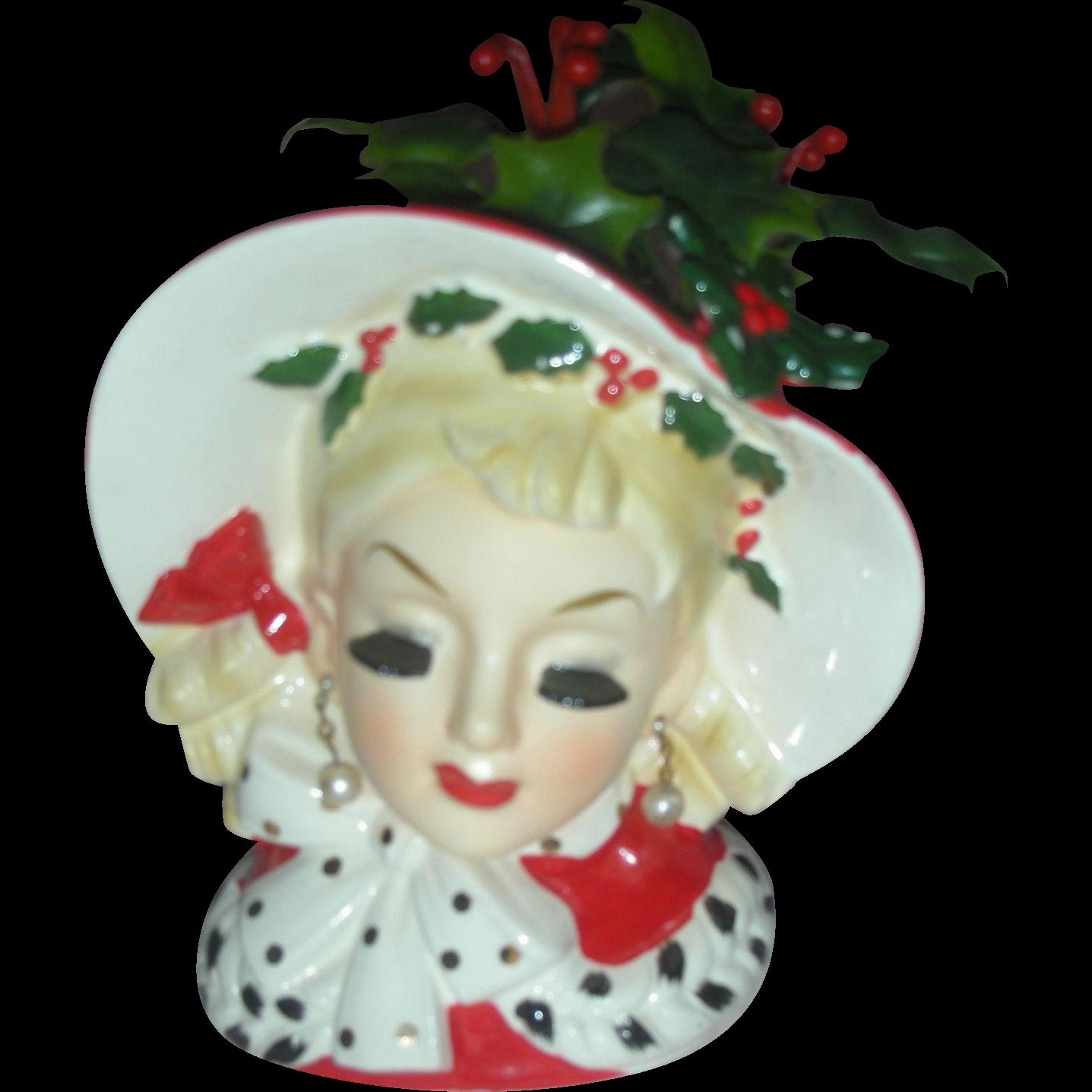 Vintage Rare Inarco 6.5 Inch Holiday Head Vase Headvase Planter