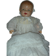 Vintage Large 26 inch Composition Molded Hair Baby Doll in Gown