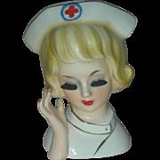 Vintage Rare Nurse Headvase Red Cross RN Headvase