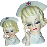 Rare Small Enesco Nurse Head Vase Planter Headvase RN