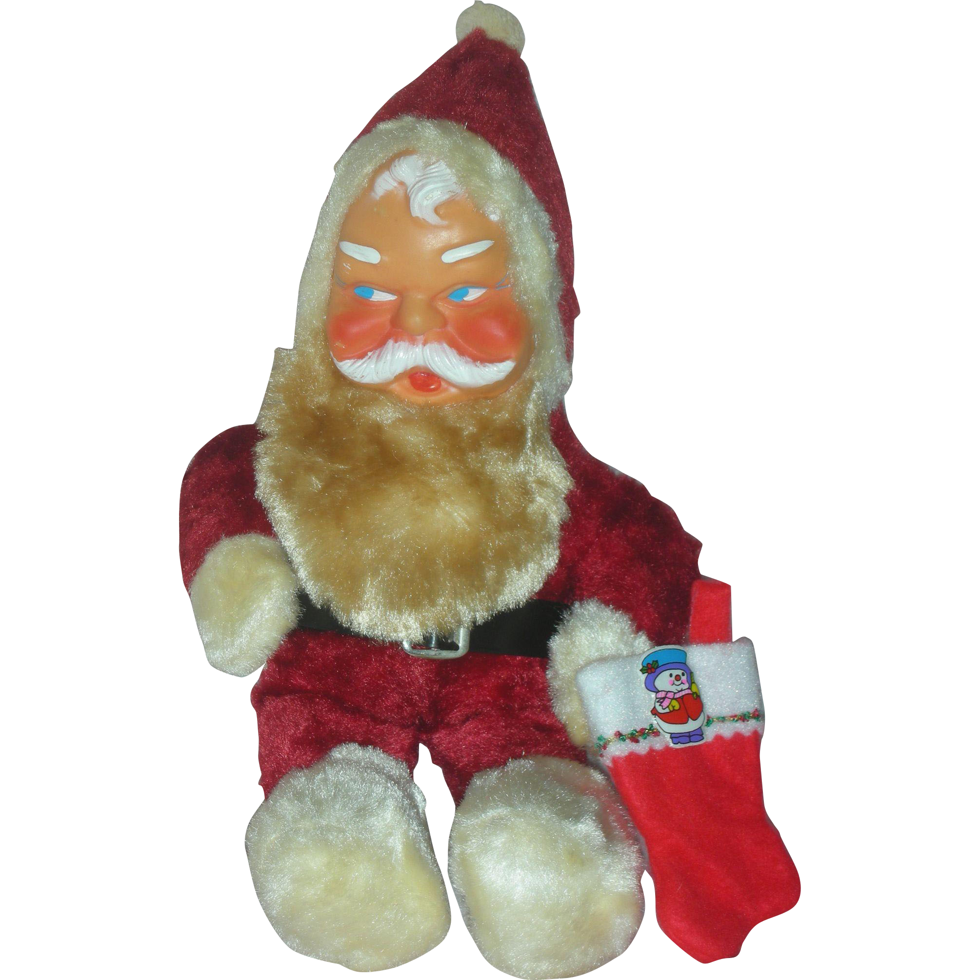 Vintage Rubber Face Toy Stuffed Santa Doll Mid Century Genie Toys