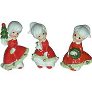 Vintage Enesco Christmas Bloomer Girl Figurines Mid Century