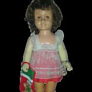 Original Mattel Chatty Cathy Doll Brown Hair and Eyes Wearing Original Dress