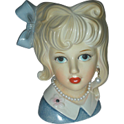 Vintage Relpo Teenage Lady Head Vase Planter Headvase