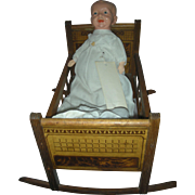 Vintage Wooden Doll Cradle for Small Dolls