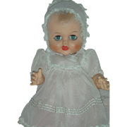 Vintage 1950s Vinyl Molded Hair All original Baby Doll in Pink