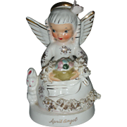 Vintage Napco April Easter Angel Birthday Figurine with Bunny